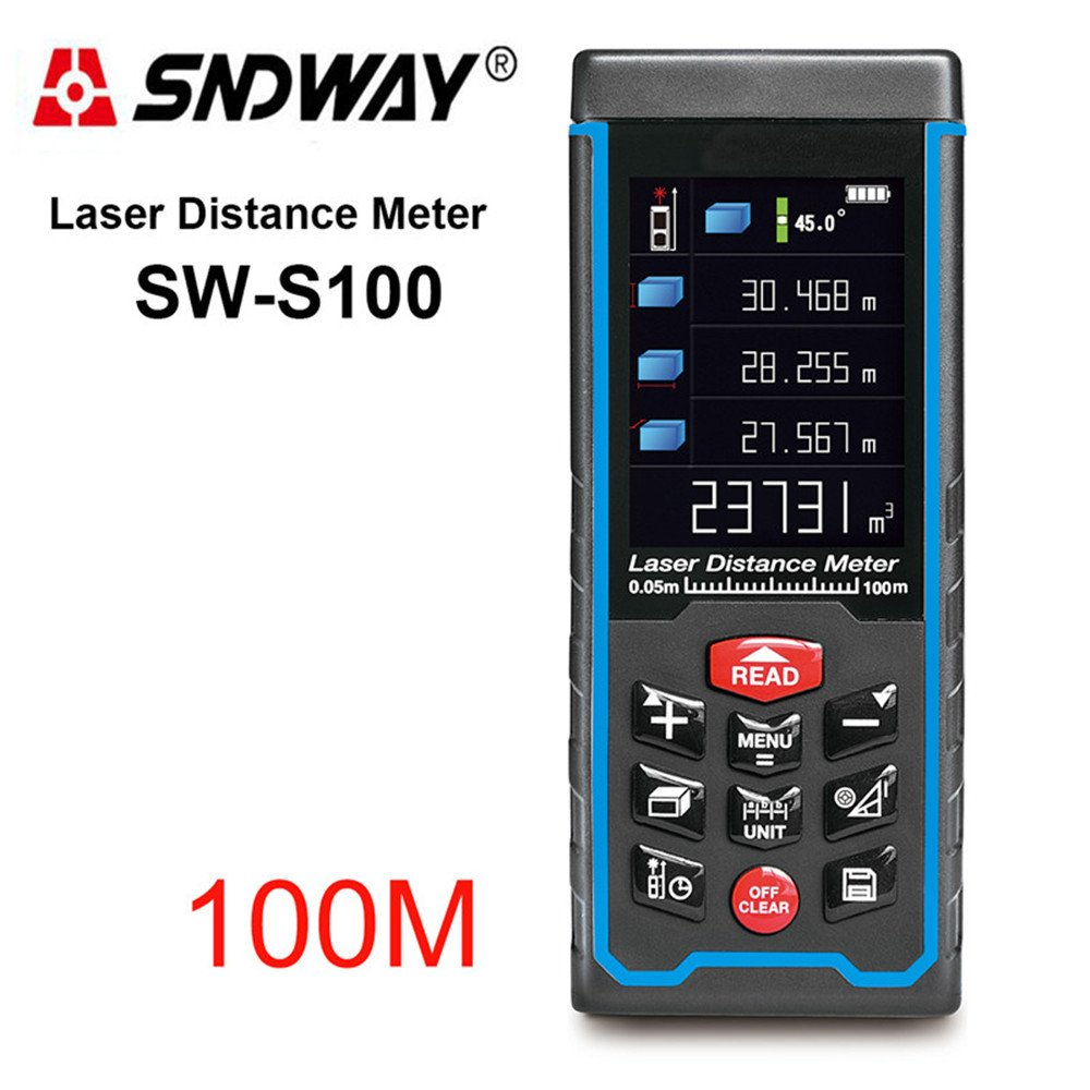 SW-S100 Rechargeable 100m Color Display High-Precision Laser Rangefinder Distance Meter Trena Laser Tape Measure Diastimeter