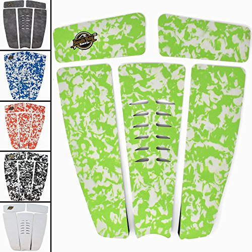 Green Traction Pad - SBBC - Surfboard Stomp Pad - || 5 Piece Stomp Pads || - Custom Fingerprint Texture, Long Lasting Traction Pads for Surfboard & Skimboards