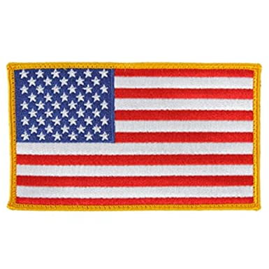 Amazon.com: FIRE NINJA American Flag Embroidered Patch Gold ...