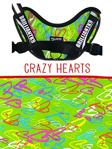 [BRILLIANTK9 ERGONOMIC DOG HARNESS LUCY PETITE - CRAZY HEARTS - Made in Ohio, USA] (Petit Point Heart)