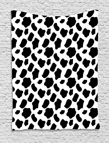Cow Print Tapestry, Cattle Skin Pattern with Scattered Spots Animal Hide Plain and Pasture Print, Wall Hanging for Bedroom Living Room Dorm, 60 W X 80 L Inches, White Black by asddcdfdd