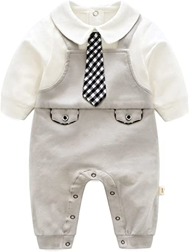 18-24 Months, Grey famuka Bebone Baby Boys Outfits Clothes Wedding Gentleman Romper Jumpsuit Bodysuit