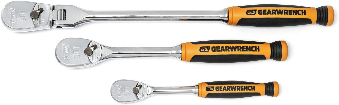 and 3//8 in Drive 84 Tooth Flex Ratchet Set GearWrench 81204F 2-Piece 1//4 in