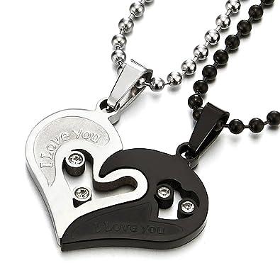 fba5ddf32aff COOLSTEELANDBEYOND Un Par Amor Corazon Emparejado Collar Colgante con  Circonita para Hombre Mujer Amantes Parejas Amigos