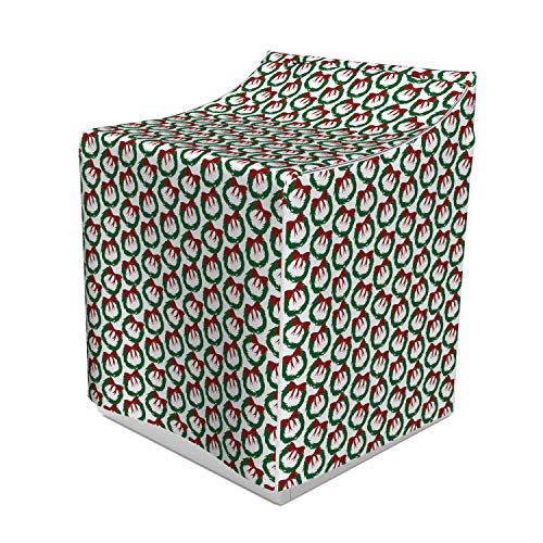 """Ambesonne Geometric Washer Cover, Leaves Ribbon Design Sacred Traditions of Christmas Seasonal Ornate Motif, Decorative Accent for Laundromats, 29"""" x 28"""" x 40"""", Green Ruby White"""