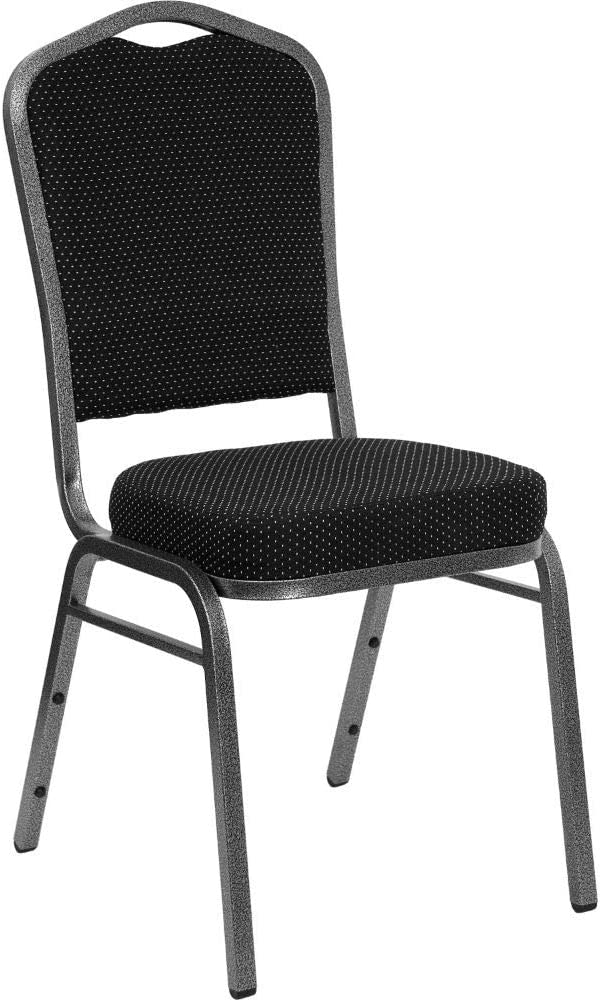 Flash Furniture Banquet chair, 1 Pack, Black Dot Patterned Fabric/Silver Vein Frame