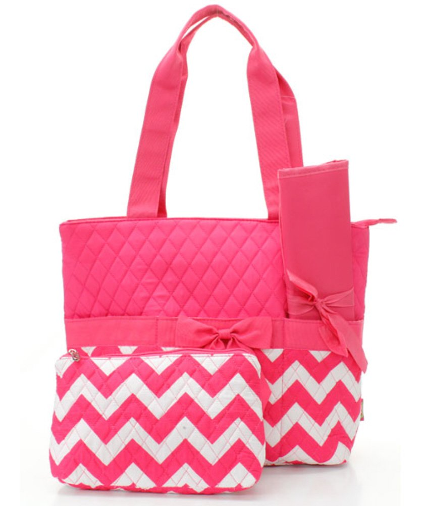 Personalized Black /& Blue Chevron Pattern Pink or White Accents Diaper Bag with Changing Pad