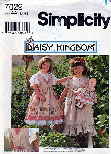 Simplicity 7029 Size AA 3,4,5,6 Child's Pinafore, Dress Plus Doll Clothes Pattern for 18