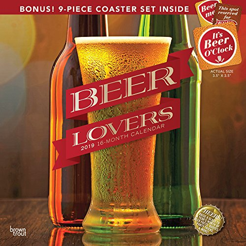 Beer Lovers 2019 12 x 12 Inch Monthly Square Wall Calendar with Coaster Set, Alcohol Hops Cerveza Drinking (Multilingual Edition) ()