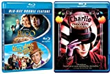 Charlie and the Chocolate Factory Tim Burton & Willy Wonka & the Chocolate Factory Musical + Hugo Blu Ray Set / Classic Family Movie Bundle Triple Feature