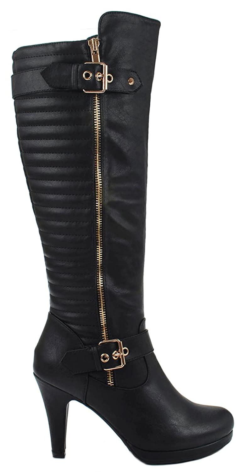 Gold Decorative Zipper Buckle Back Quilted Motorcycle Heel Knee High Boots