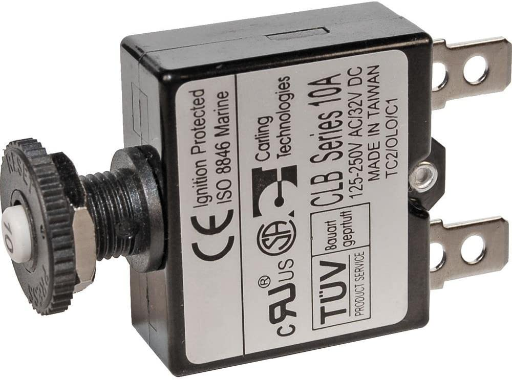 Carling 10 Amp Clb Series Black Push To Reset Boat Breaker Switch Button