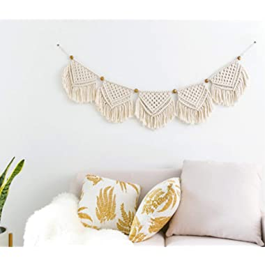 Mkono Macrame Banner Wall Hanging Home Decor, 7 W x 35 L, 5 Flags