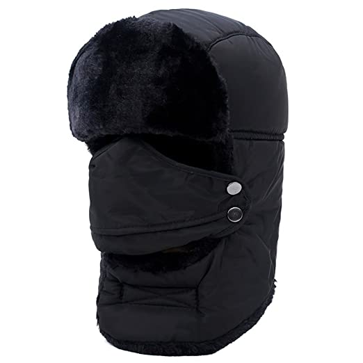 96ff4e3d09d elegantstunning Winter Unisex Outdoor Riding Windproof Thick Warm Cotton  Hats with Breathable Mask -Black (