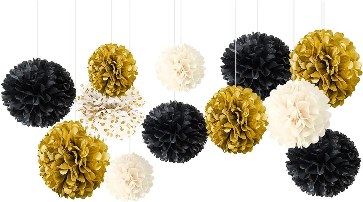 NICROLANDEE Black Gold Party Decorations - 12 PCS Black Gold White Tissue Paper Pom Poms for Wedding, Birthday, Graduation Décor, Baby Shower, Bridal Shower, Prom, Festival Decorations