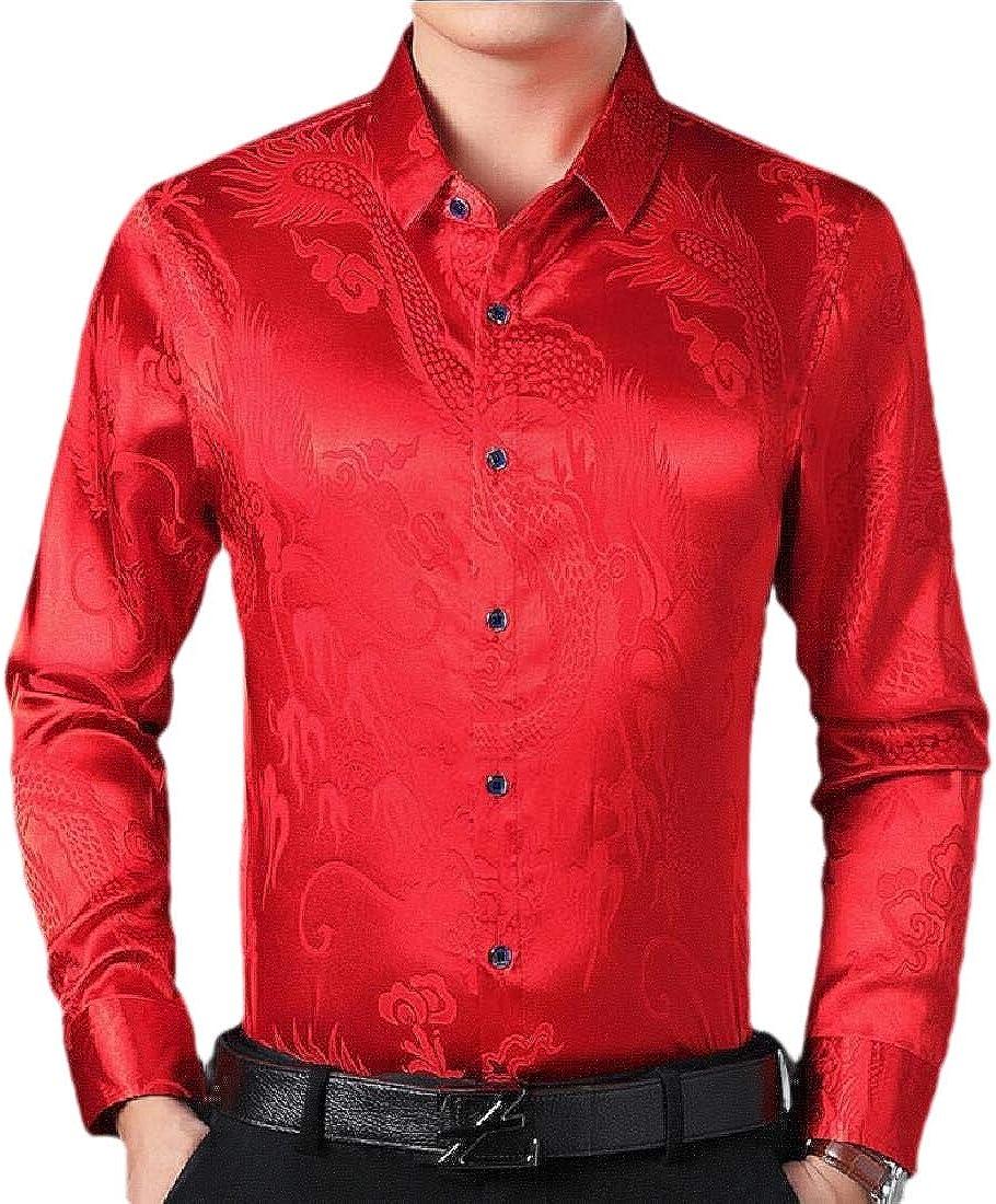 heymoney Mens Casual Long Sleeve Print Shiny Satin Silk Tops Blouses Dress Shirt