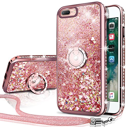 (iPhone 7 Plus Case, iPhone 8 Plus Case, Silverback Moving Liquid Holographic Sparkle Glitter Case with Kickstand, Bling Diamond Rhinestone Bumper W/Ring Protective Case for Apple iPhone 8/7 Plus -RD)