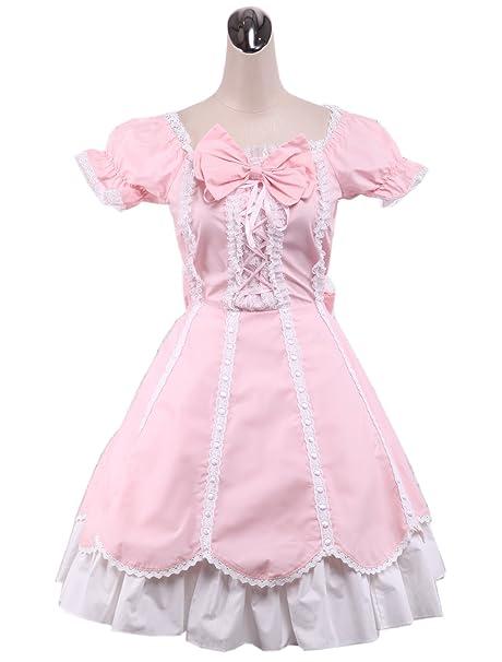 antaina Vestido de coser de lolita rosa Victoriana de algodón con volantes bowknot de encaje vintage