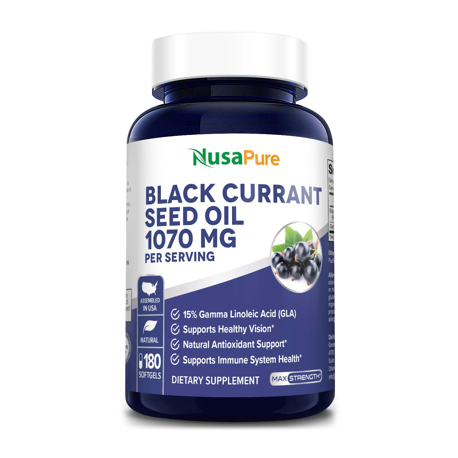 Black Currant Oil 1070mg GLA 15% 180 Caps (Non-GMO & Gluten Free) Hexane Free – Natural Anti Aging Antioxidant with High GLA Formula – Supports Hair, Skin, Joint & Eye Health – Softgel Supplement