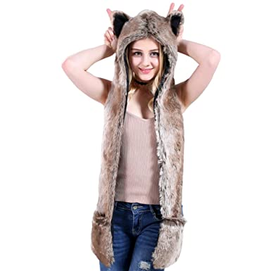 f2a052914 Animal Hoodie Hat Scarf Gloves Faux Fur Mittens 3-in-1 Function ...