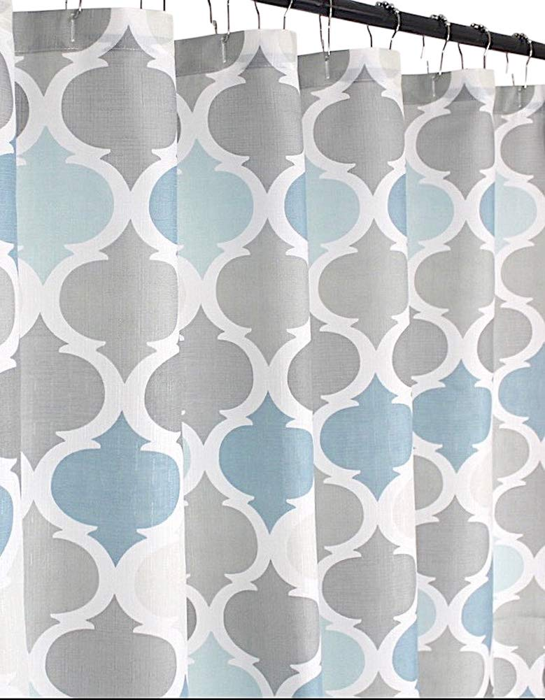 Serafina Home Universal Bathroom Fabric Shower Curtain for Men or Women: Muted Tones of Blue and Grey by VCNY Home