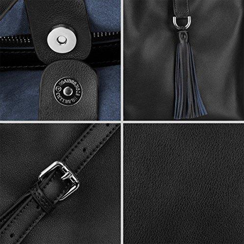 Women S Leather Zone Crossbody Small Bag Black Genuine Chic Shoulder Bag FBw5rHfBq