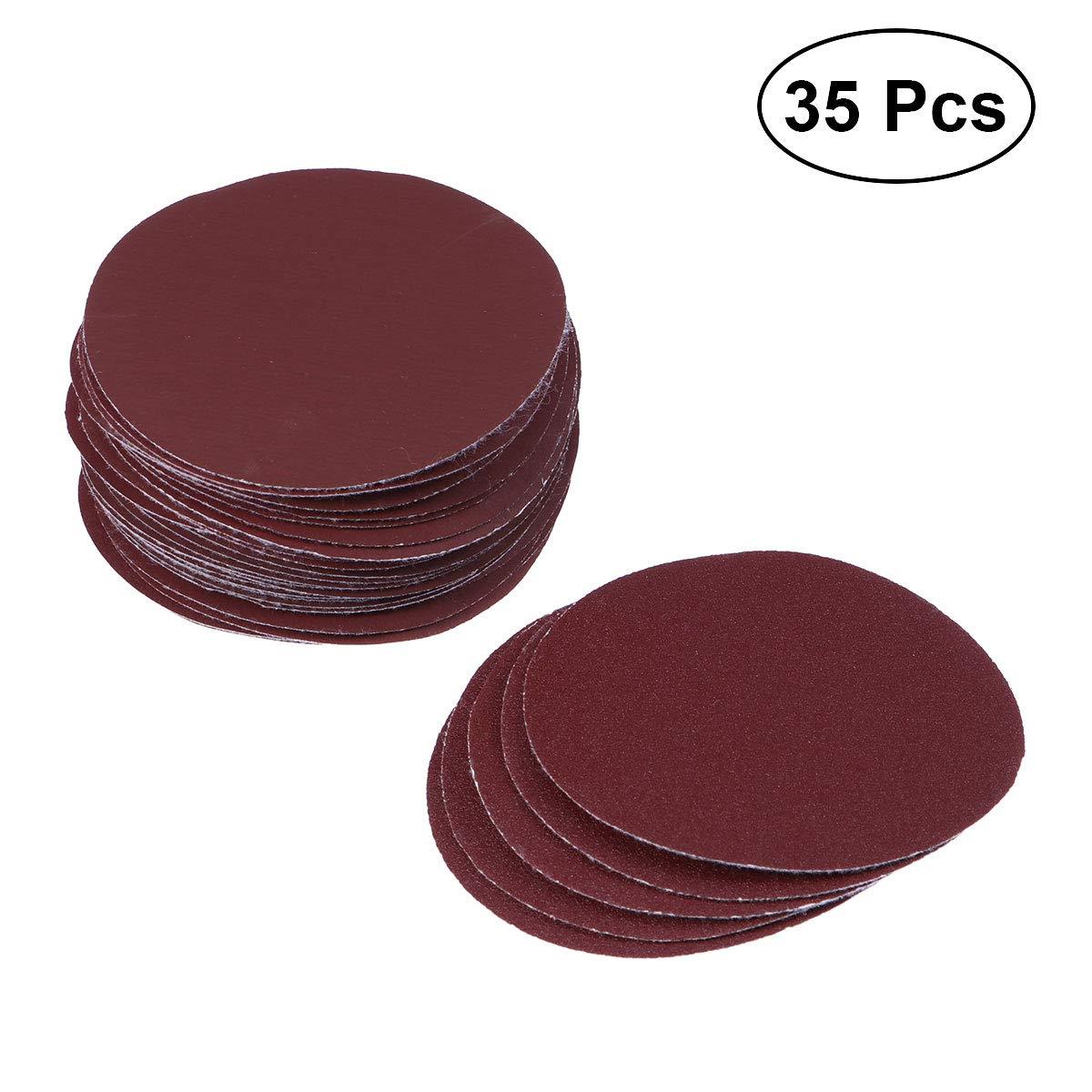 OUNONA 35 in 1 gemischte Grits Runde selbstklebende Schleifblä tter Schleifpapier Pads (dunkelrot)