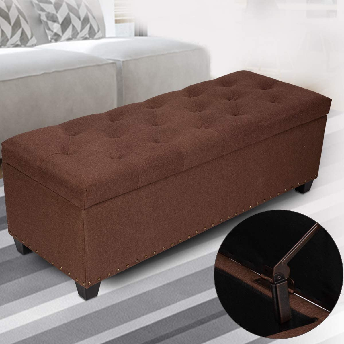 GOOD GRACIOUS Ottoman with Storage, 47.6 Large Storage Chest Foot Rest Stool Tufted Ottoman Holds up to 660lbs End of Bed Bench for Bedroom and Living Room, Brown