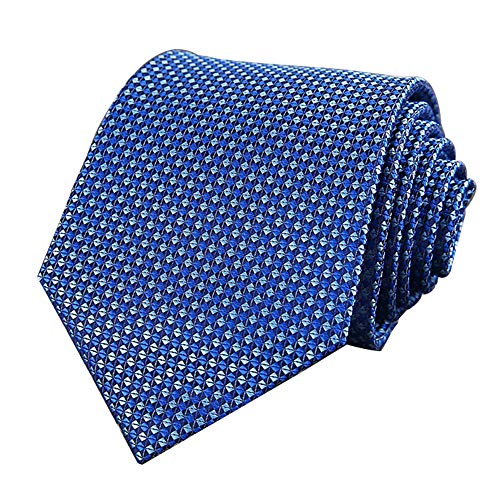 Men's Classic Checks Light Blue Jacquard Woven Silk Tie Necktie + Gift Box (Bright - Big And Tall Tie Silk