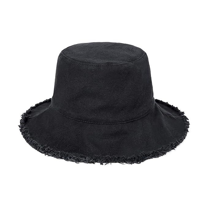 Solid Colors Bucket Hats for Women Men Wide Brim Flat Bucket Hat Unisex UV  Protection Beach eb6c566c9a9