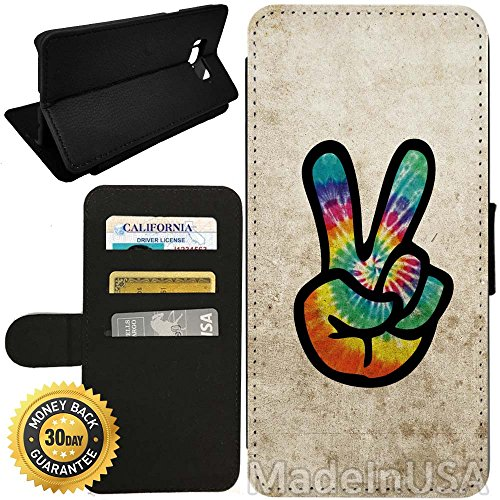 Flip Wallet Case for Galaxy S8 Plus (Grunge Hippie Peace Sign) with Adjustable Stand and 3 Card Holders | Shock Protection | Lightweight | by Innosub