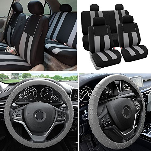 FH Group Fabric Full Set Seat Covers (Airbag & Split) w. Silicone Steering Wheel Cover, Gray/Black- Fit Most Car, Truck, SUV, or - Cup Holder Forester Subaru 2002