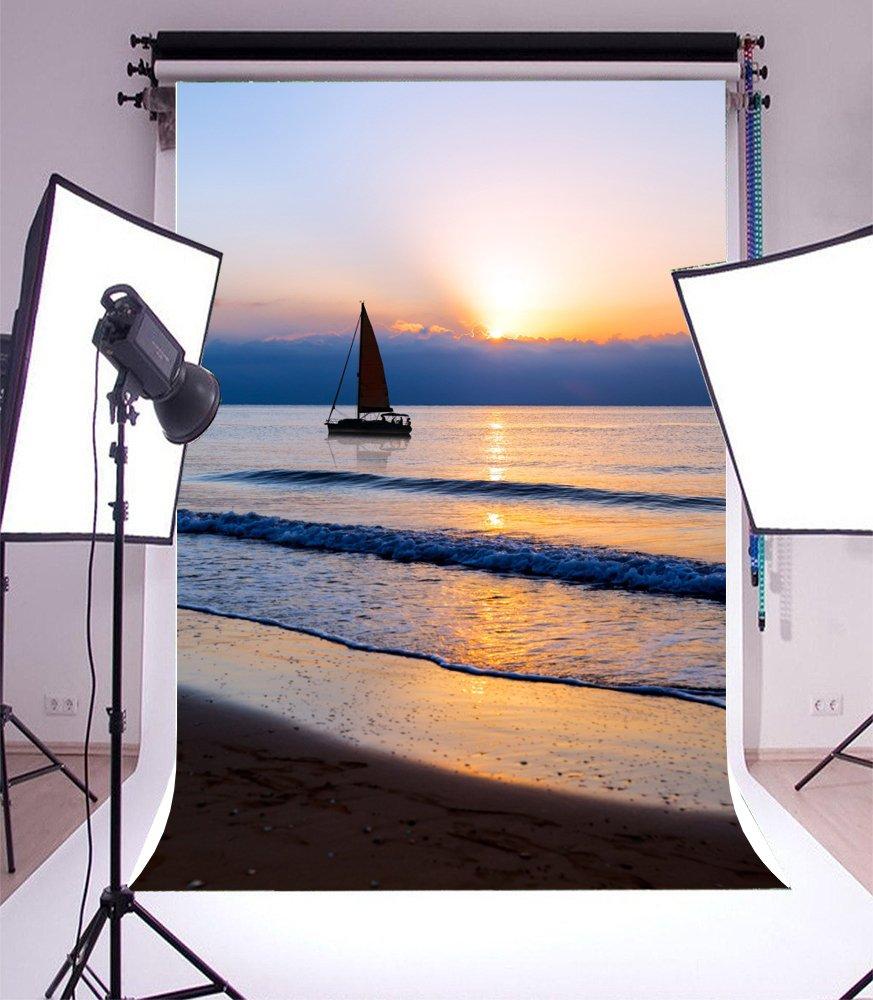 LFEEY 海辺 写真背景 5x7フィート ビーチ サンセット 夕暮れサンディ サンセット ヨット ホワイト 雲 アウトドア 写真 恋人 大人 芸術 ポートレート 写真撮影 小道具 ビデオ ドレープ 壁紙   B07BGW98PK
