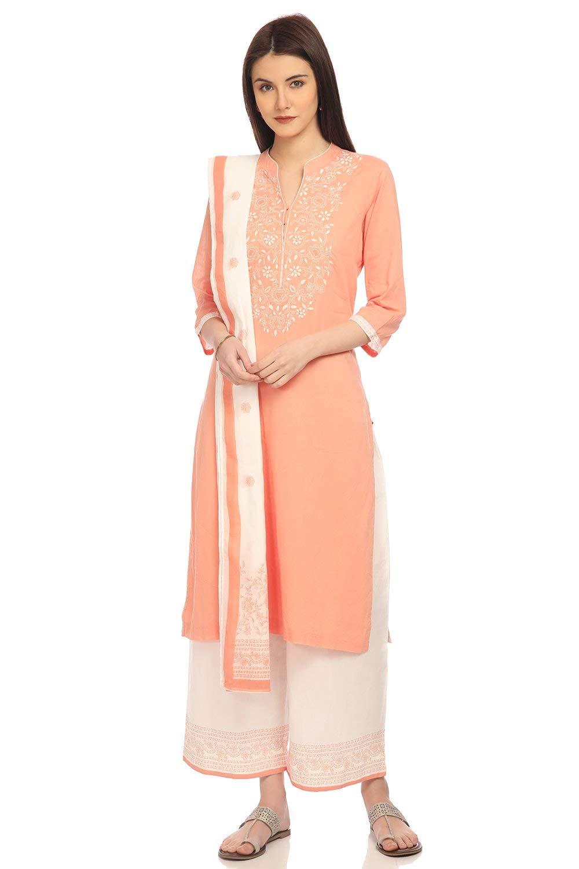 BIBA Peach Straight Cotton Suit Set Size 34