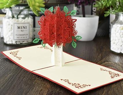 Rouge Bouquet De Fleurs 3d Pop Up Carte De Voeux Joyeux