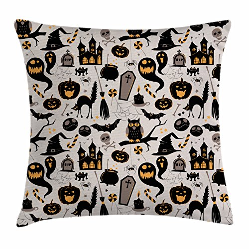 Vintage Halloween Throw Pillow Cushion Cover by Ambesonne, Halloween Cartoon Jack o Lantern Tombstone Skulls and Bones, Decorative Square Accent Pillow Case, 20 X 20 Inches, Light Grey Multicolor
