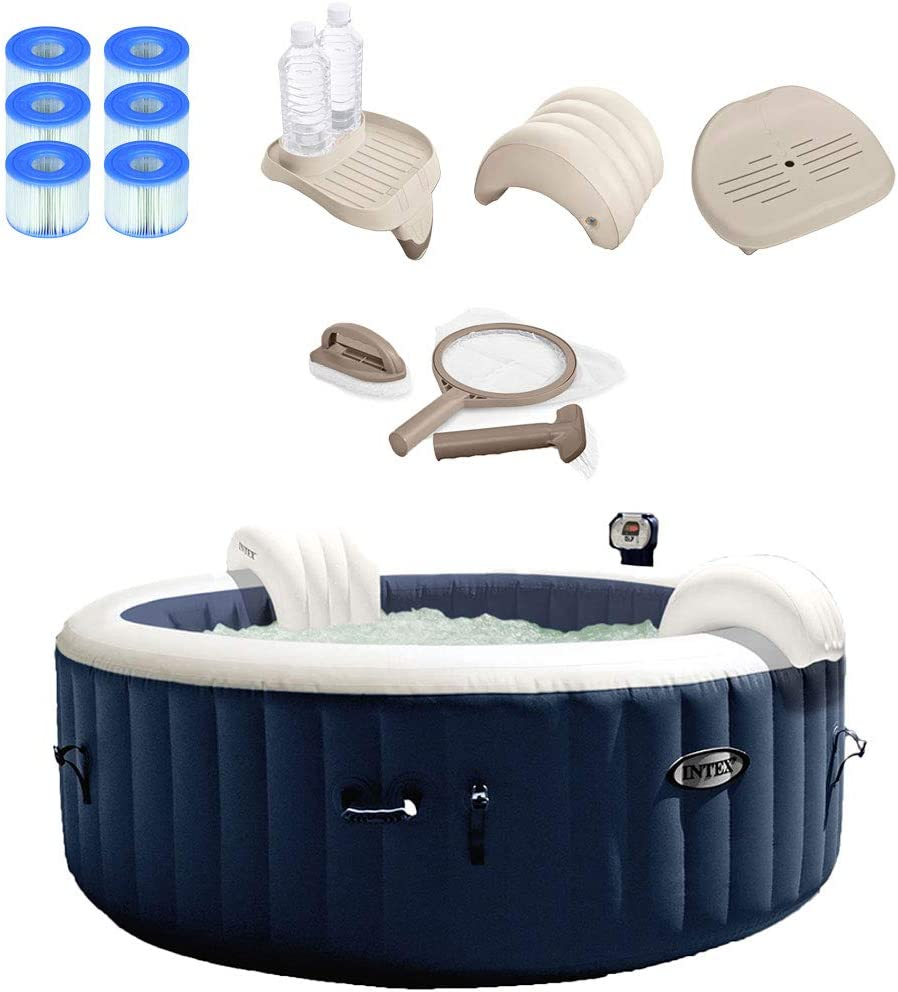 Intex Pure Spa Inflatable Hot Tub Set w 6 Filter Cartridges and Accessories