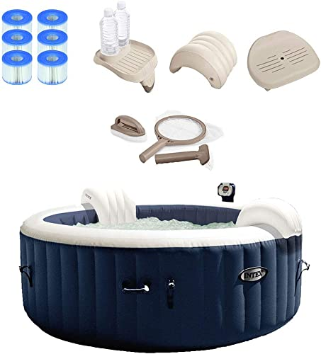 Intex 28405E PureSpa 4 Person Home Outdoor Inflatable Portable Heated Round Hot Tub Bubble Jet Spa 58-inch x 28-inch