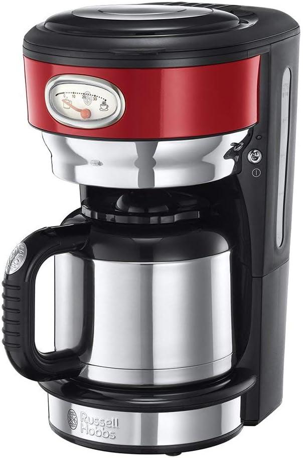 Russell Hobbs 21710-56 Retro - Cafetera de acero inoxidable con jarra térmica, color rojo: Amazon.es: Hogar