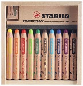 Caja de madera 10 crayones 1 STABILO woody afilador