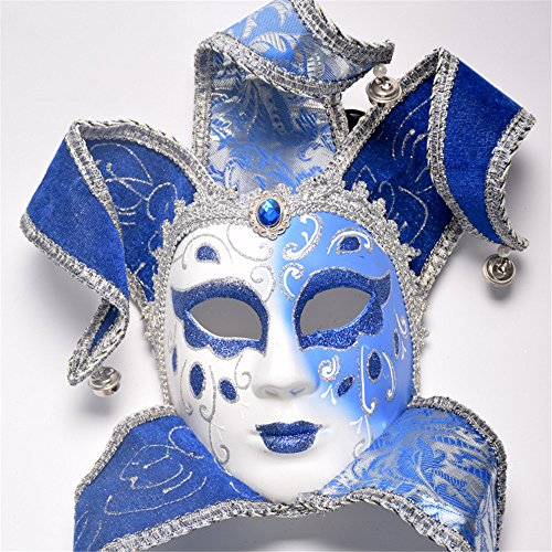 CHOP MALL Painting Masquerade Clown Blue Mask Happy Halloween Dress-Up Costume Party Novelty Mask for Halloween Party Masquerade Cosplay Festival Parties