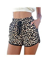 FOREVER YUNG Women's Sexy Leopard Print Bodycon Beach Shorts with Adjustable Rope
