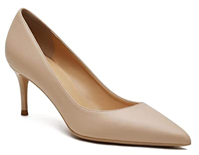Women s Cute Pointed Toe High Heels Slip On Dress Pumps Stiletto Mid Heel  Party Shoes Beige