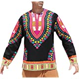 RaanPahMuang Open Collar Long Sleeve African Dashiki Print Dance To Afrika Shirt, Small, Black Trim Pink