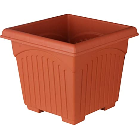 First Smart Deal 12 Inch Plastic Square Planter Pack of 8 - Brown