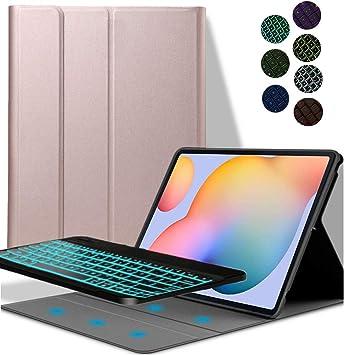 YGoal Teclado Funda para Galaxy Tab S7 Plus, [Teclado Español Ñ] 7 Colors Backlit PU Cuero Funda con Desmontable Wireless Teclado para Samsung Galaxy ...