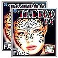Tribal Cheetah Temporary Face Tattoo Makeup Kit - Set of 2 Complete Kits
