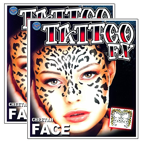 Tribal Cheetah Temporary Face Tattoo Makeup Kit - Set of 2 Complete Kits]()