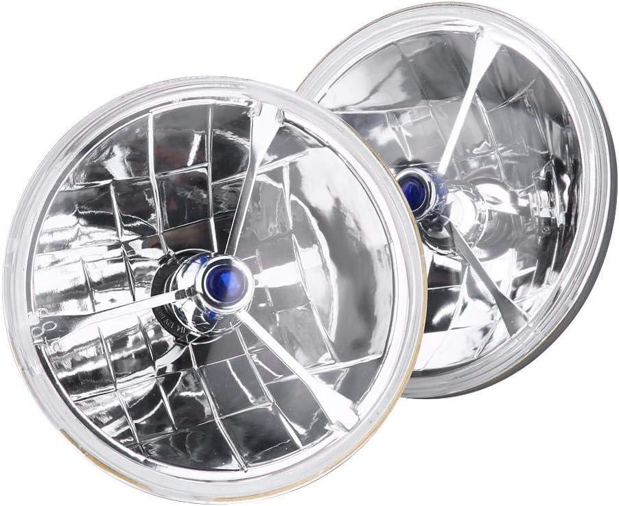 3 St/ück Blue Dot Tri-Bar H4 Scheinwerfer 17,8 cm mit blauen Punkten