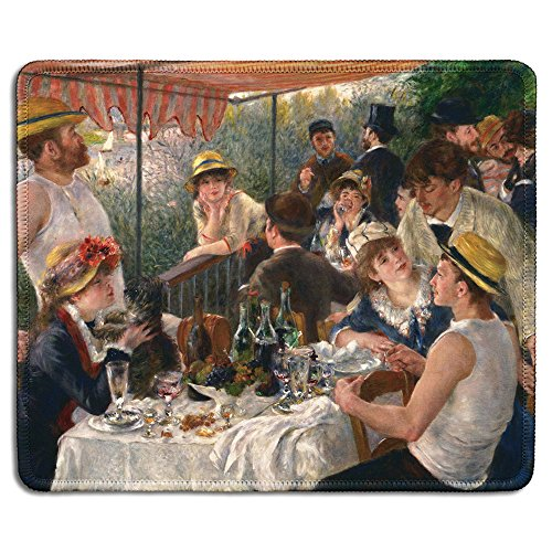 dealzEpic - Art Mousepad - Natural Rubber Mouse Pad with Famous Fine Art Painting of Luncheon of the Boating Party by Pierre-Auguste Renoir - Stitched Edges - 9.5x7.9 (Renoir Picture)